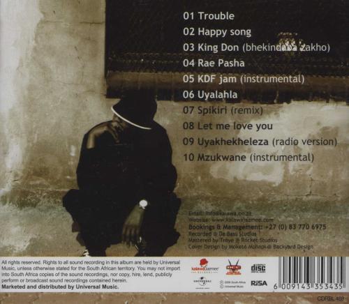 2008 Mandla Mofokeng aka Spikiri Album, The King Don Father of Kwaito Music - Trouble (feat. Gunman, Mapaputsi, Speedy, Skhokho & Makasket) - back cover